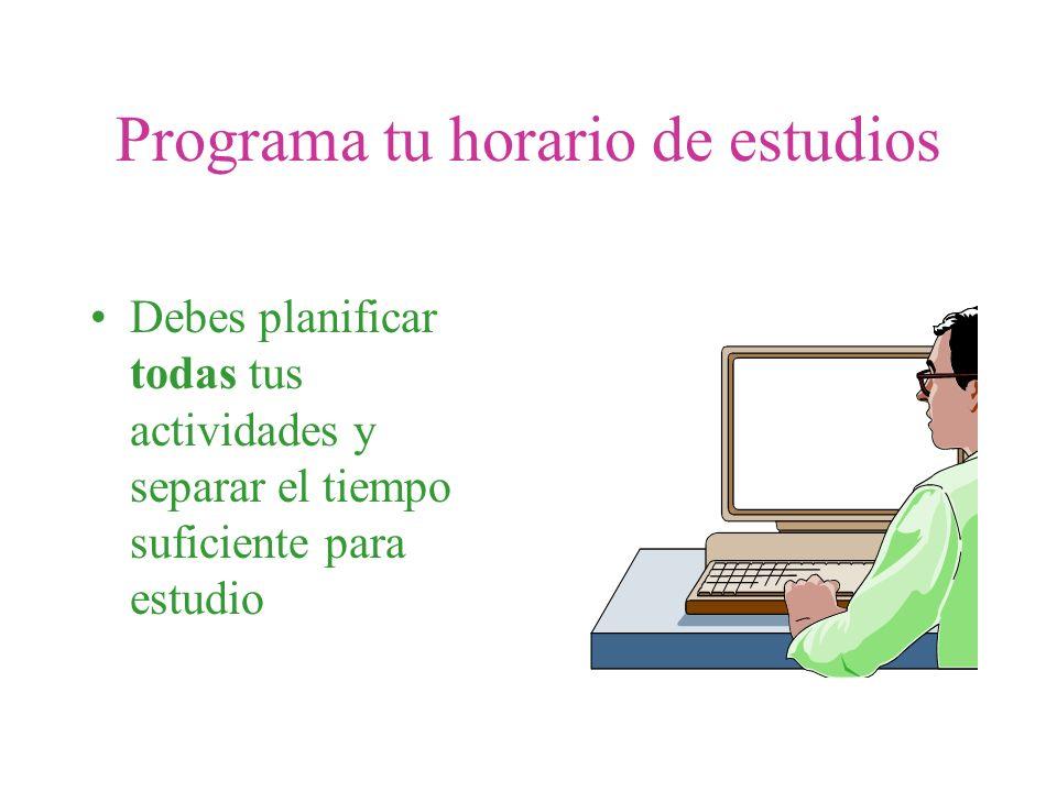 Programa tu horario de estudios