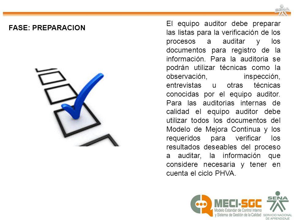 El equipo auditor debe preparar las listas para la verificación de los procesos a auditar y los documentos para registro de la información. Para la auditoria se podrán utilizar técnicas como la observación, inspección, entrevistas u otras técnicas conocidas por el equipo auditor. Para las auditorias internas de calidad el equipo auditor debe utilizar todos los documentos del Modelo de Mejora Continua y los requeridos para verificar los resultados deseables del proceso a auditar, la información que considere necesaria y tener en cuenta el ciclo PHVA.