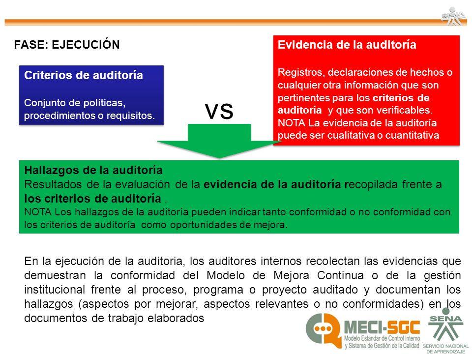 vs FASE: EJECUCIÓN Evidencia de la auditoría Criterios de auditoría