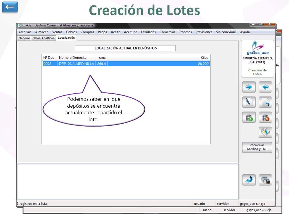 ← Creación de Lotes.