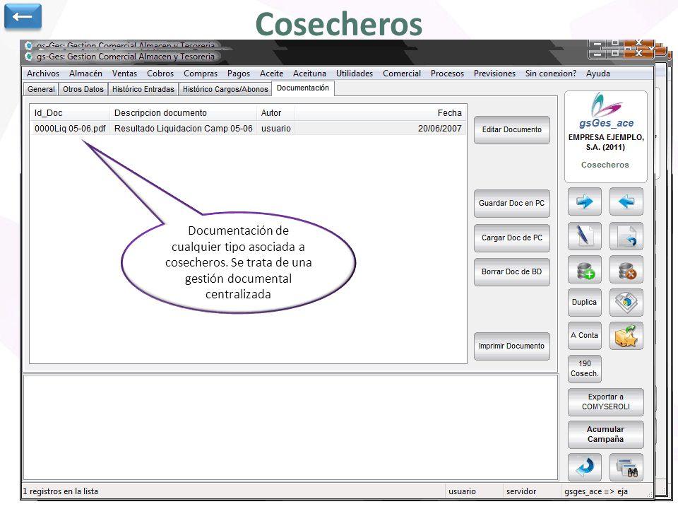 ← Cosecheros. Documentación de cualquier tipo asociada a cosecheros. Se trata de una gestión documental centralizada.