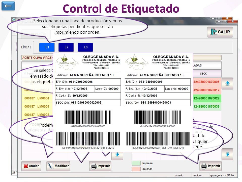 Control de Etiquetado ←