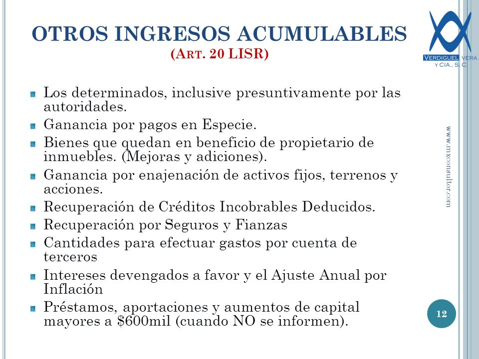 OTROS INGRESOS ACUMULABLES (Art. 20 LISR)