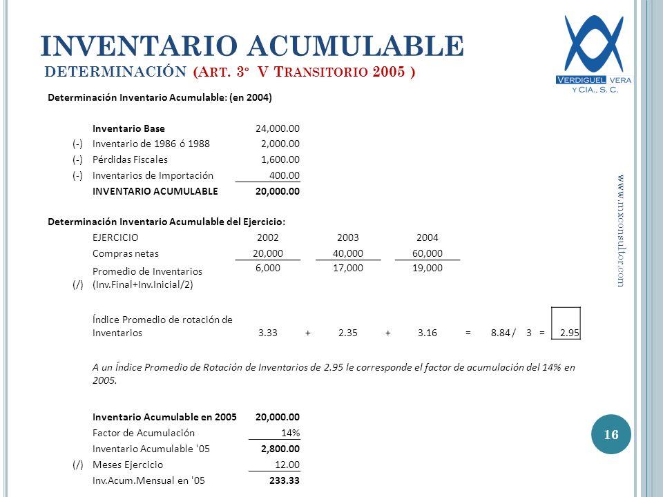 INVENTARIO ACUMULABLE DETERMINACIÓN (Art. 3º V Transitorio 2005 )