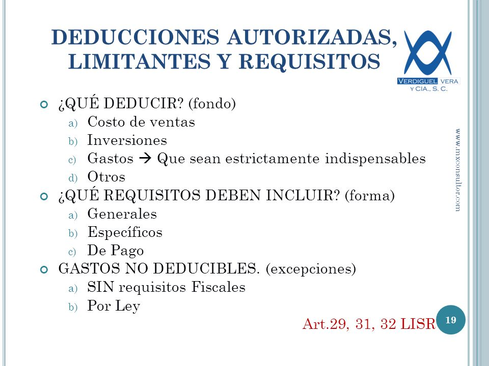 DEDUCCIONES AUTORIZADAS, LIMITANTES Y REQUISITOS