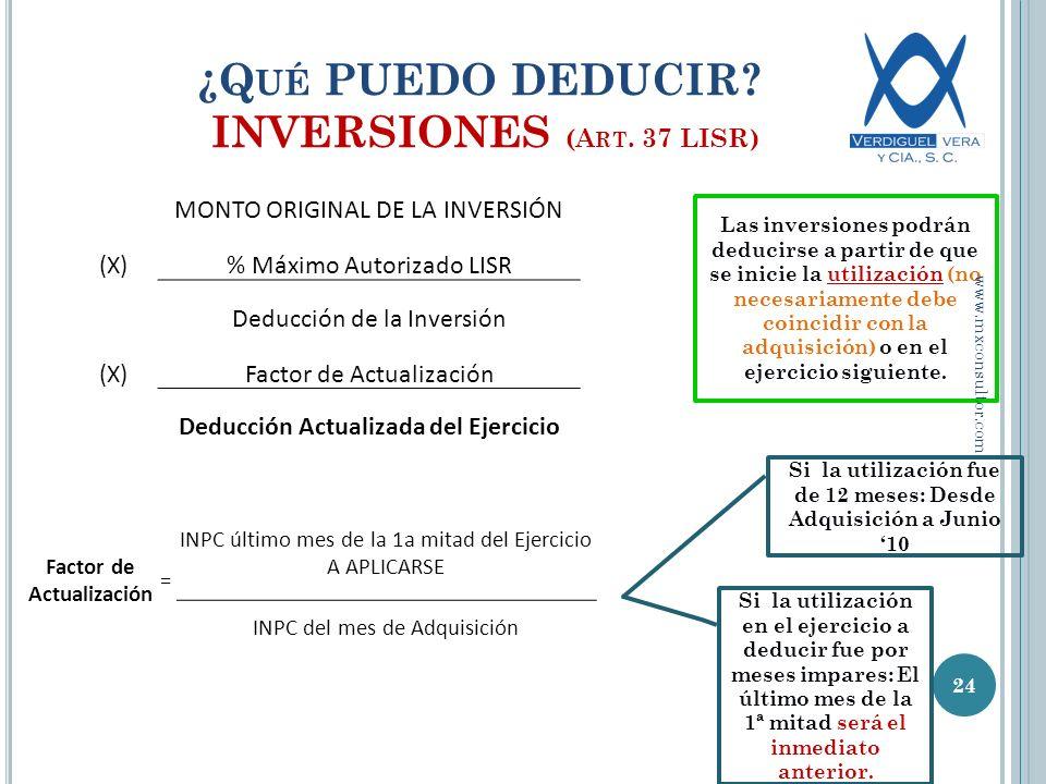 ¿Qué PUEDO DEDUCIR INVERSIONES (Art. 37 LISR)