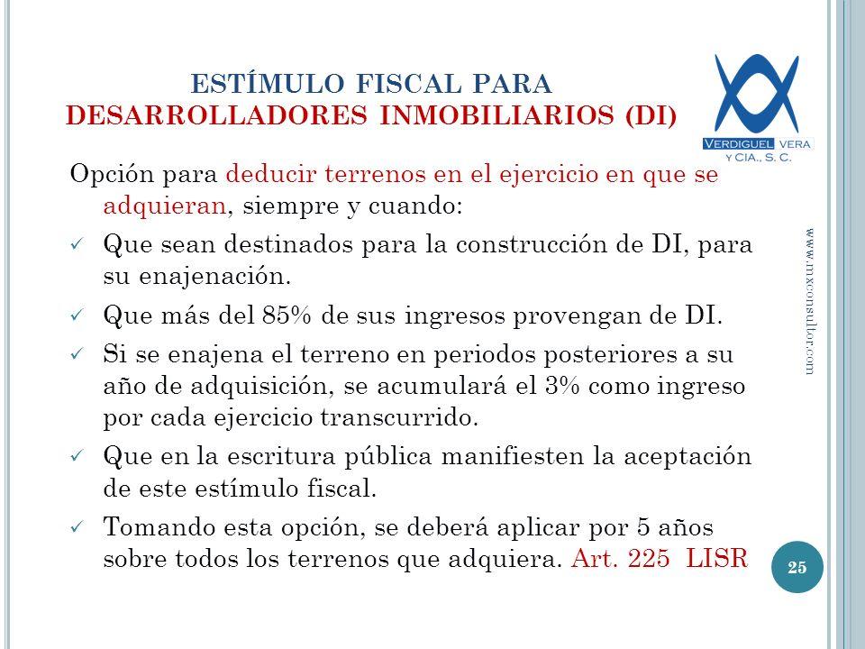 ESTÍMULO FISCAL PARA DESARROLLADORES INMOBILIARIOS (DI)