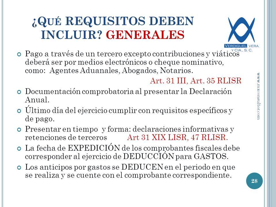 ¿Qué REQUISITOS DEBEN INCLUIR GENERALES