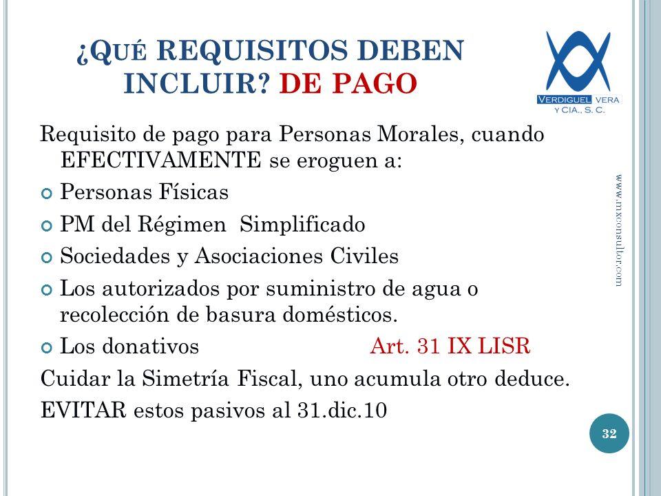 ¿Qué REQUISITOS DEBEN INCLUIR DE PAGO