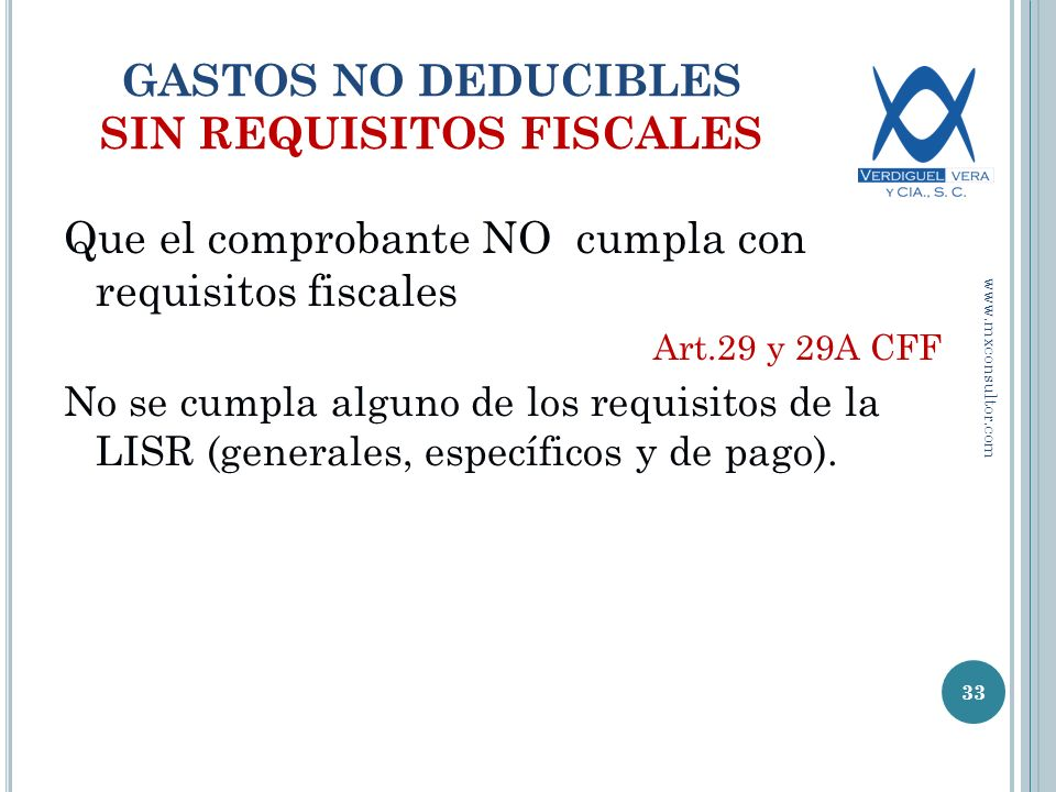 GASTOS NO DEDUCIBLES SIN REQUISITOS FISCALES