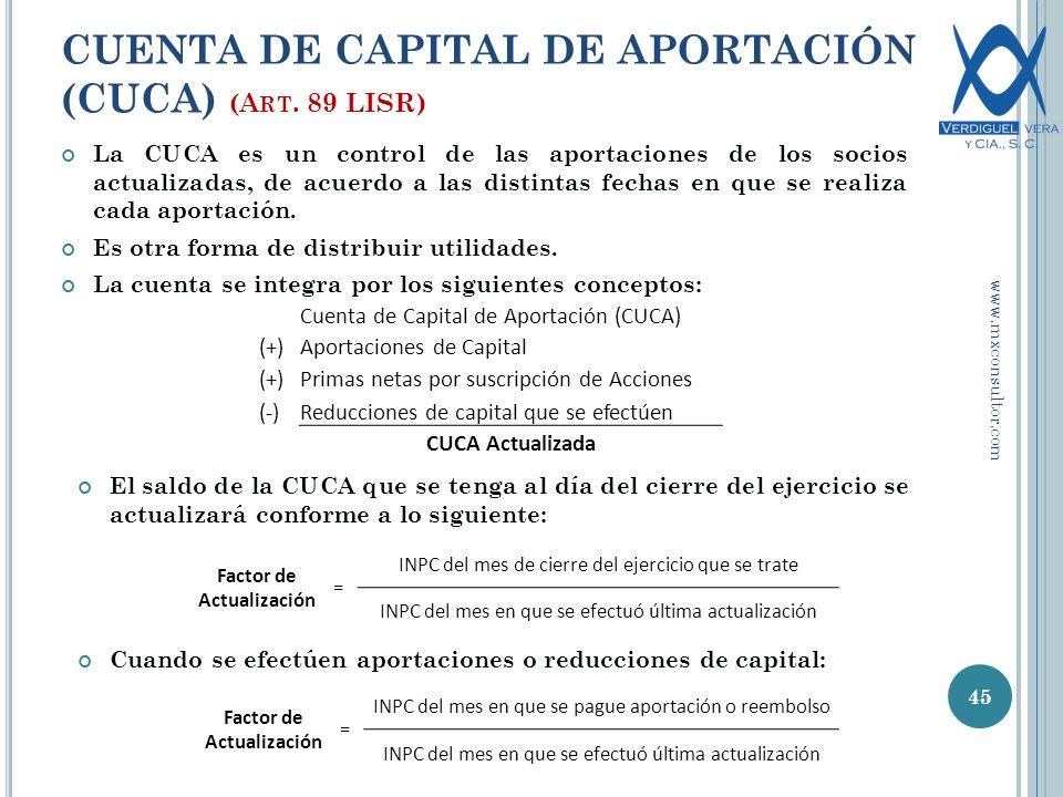 CUENTA DE CAPITAL DE APORTACIÓN (CUCA) (Art. 89 LISR)