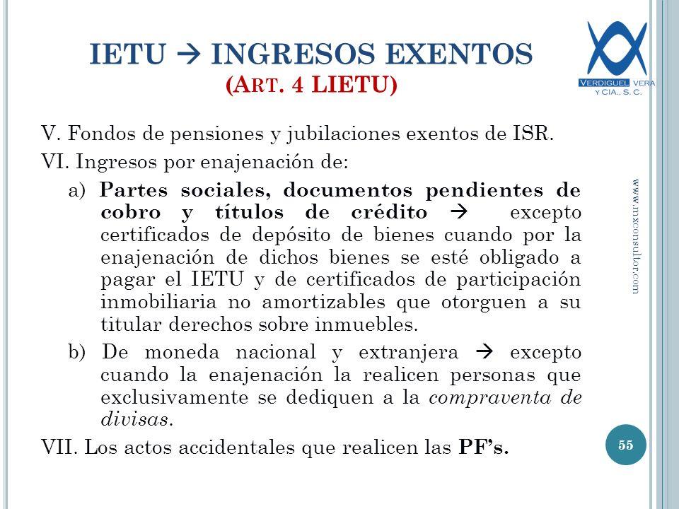 IETU  INGRESOS EXENTOS (Art. 4 LIETU)