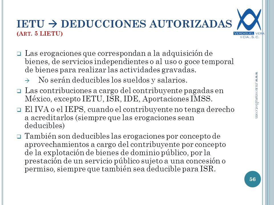 IETU  DEDUCCIONES AUTORIZADAS (Art. 5 LIETU)