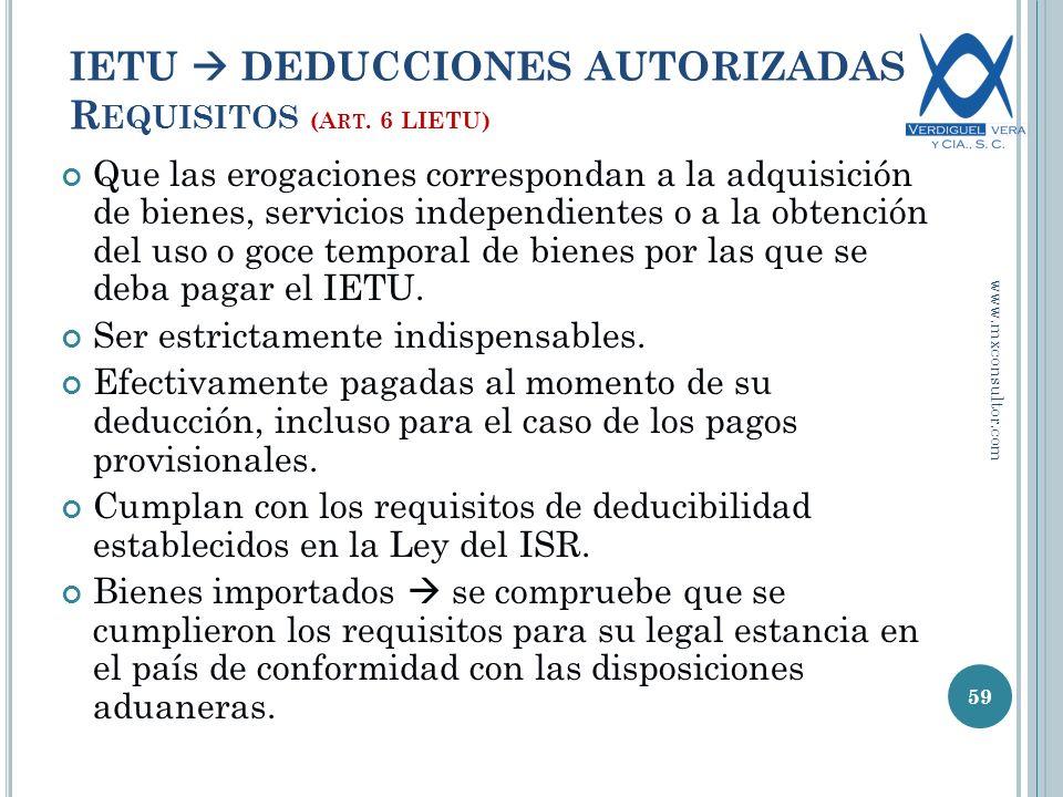 IETU  DEDUCCIONES AUTORIZADAS Requisitos (Art. 6 LIETU)