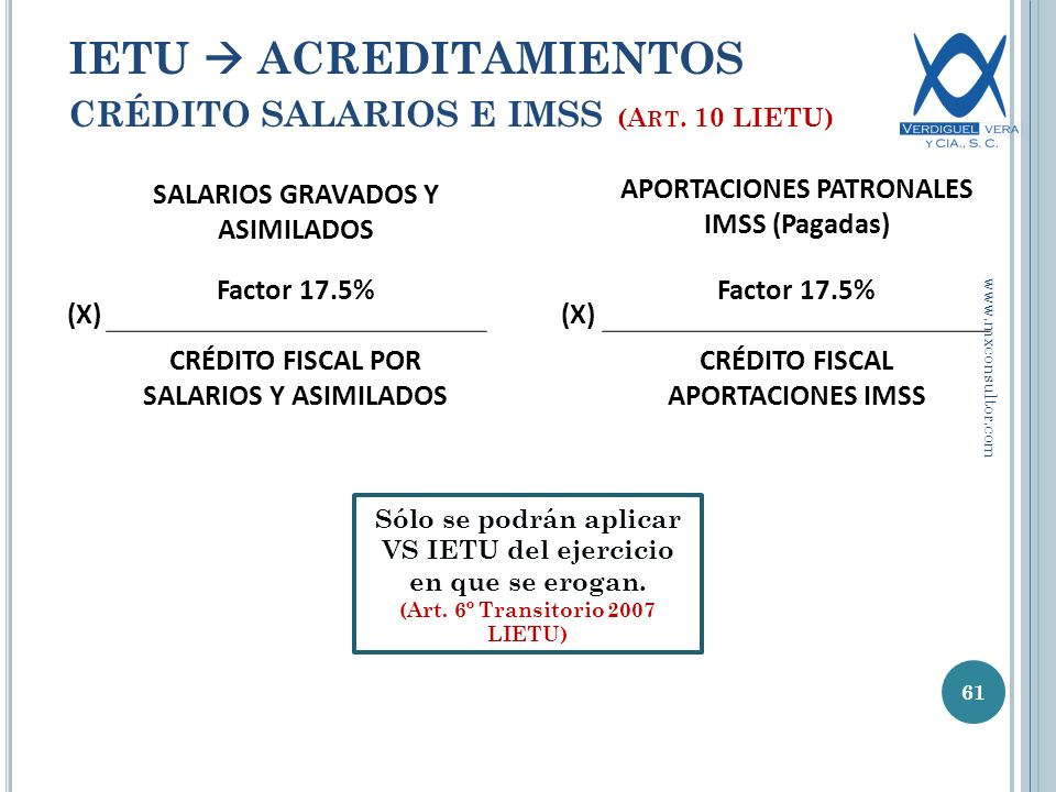 IETU  ACREDITAMIENTOS CRÉDITO SALARIOS E IMSS (Art. 10 LIETU)