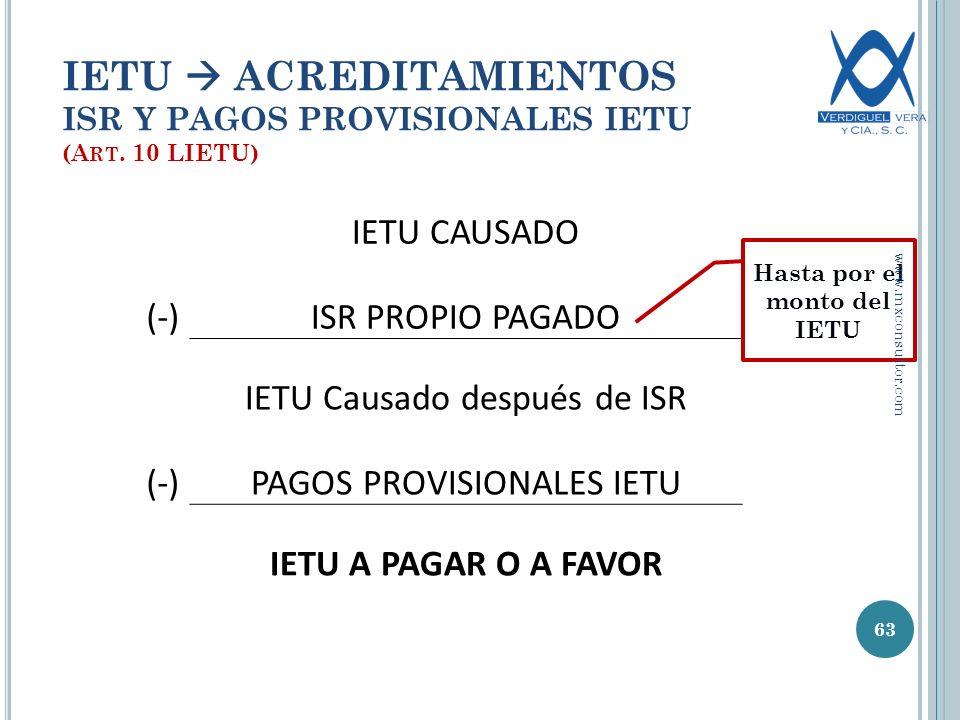 IETU  ACREDITAMIENTOS ISR Y PAGOS PROVISIONALES IETU (Art. 10 LIETU)