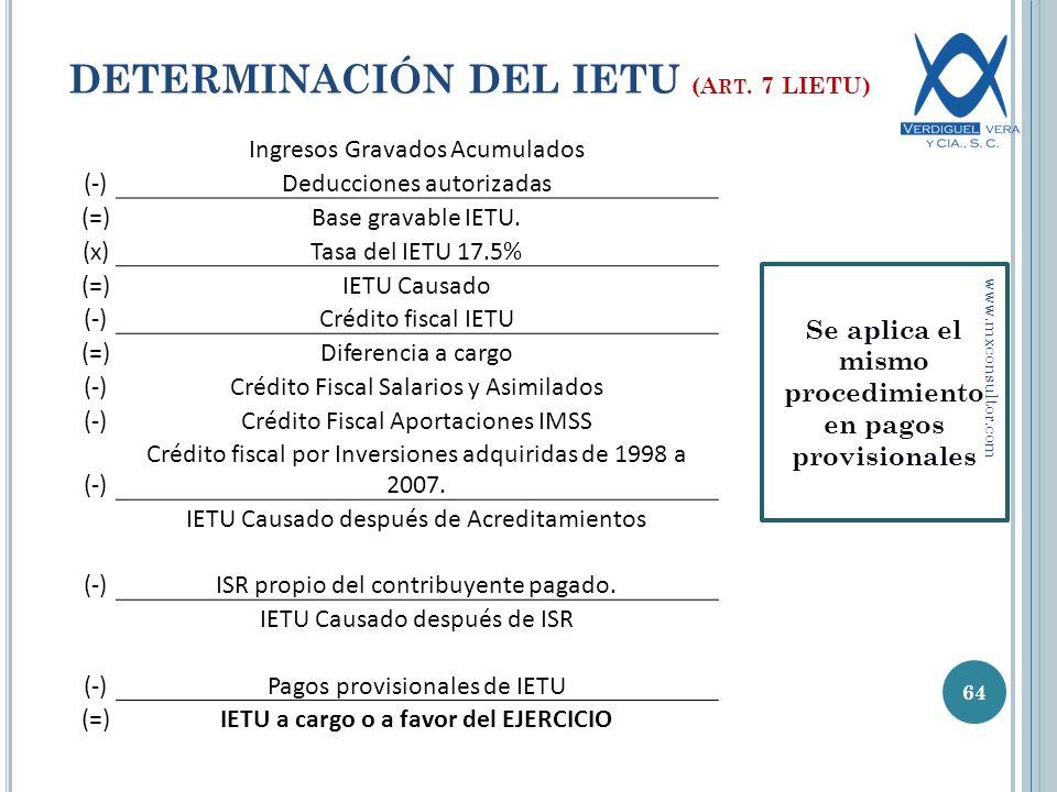 DETERMINACIÓN DEL IETU (Art. 7 LIETU)