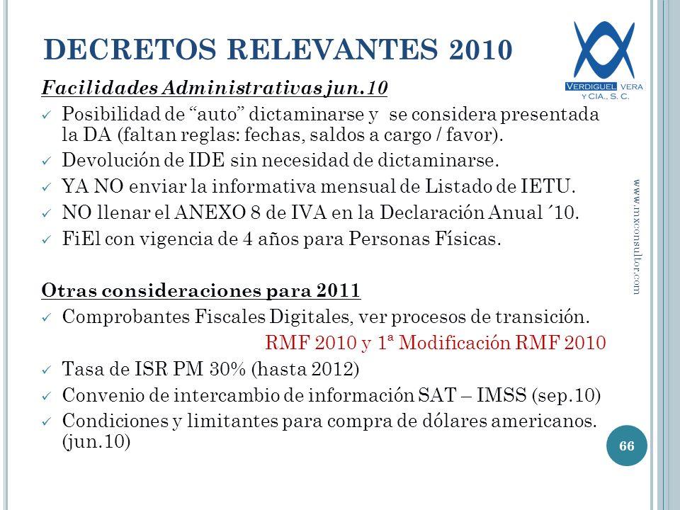 DECRETOS RELEVANTES 2010 Facilidades Administrativas jun.10