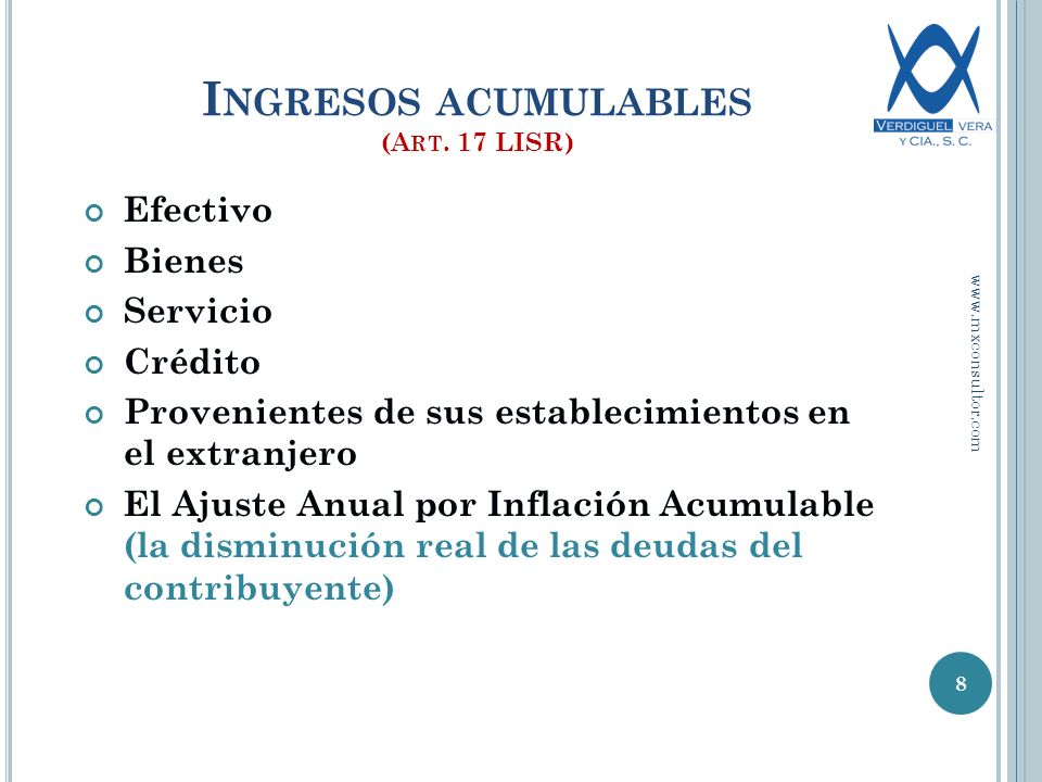 Ingresos acumulables (Art. 17 LISR)