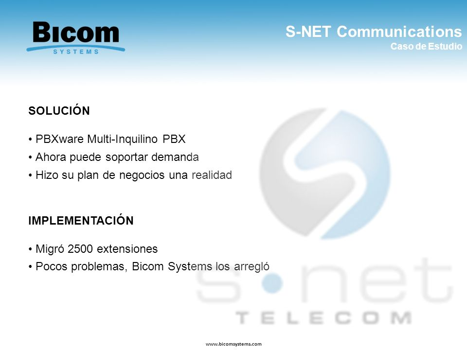 S-NET Communications SOLUCIÓN PBXware Multi-Inquilino PBX