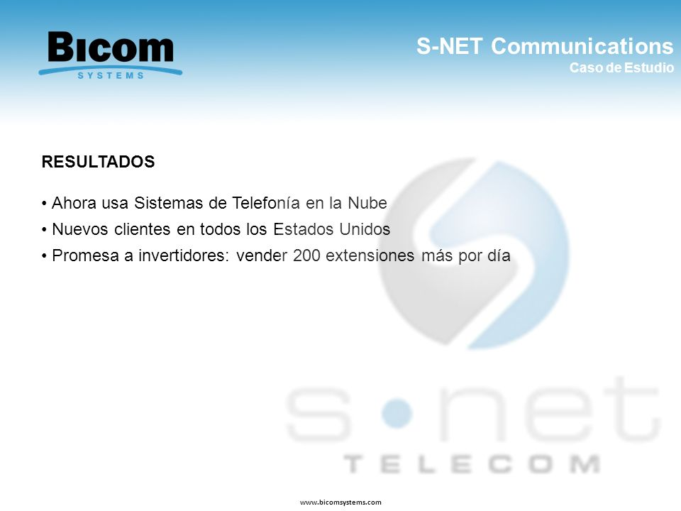 S-NET Communications RESULTADOS