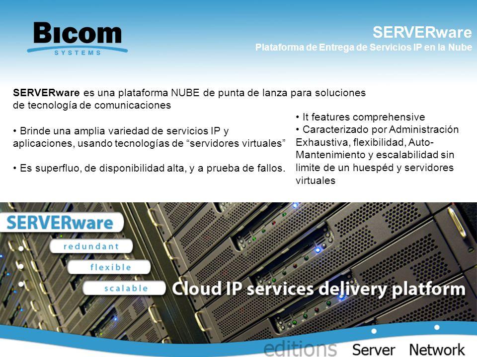 SERVERware Plataforma de Entrega de Servicios IP en la Nube. It features comprehensive.