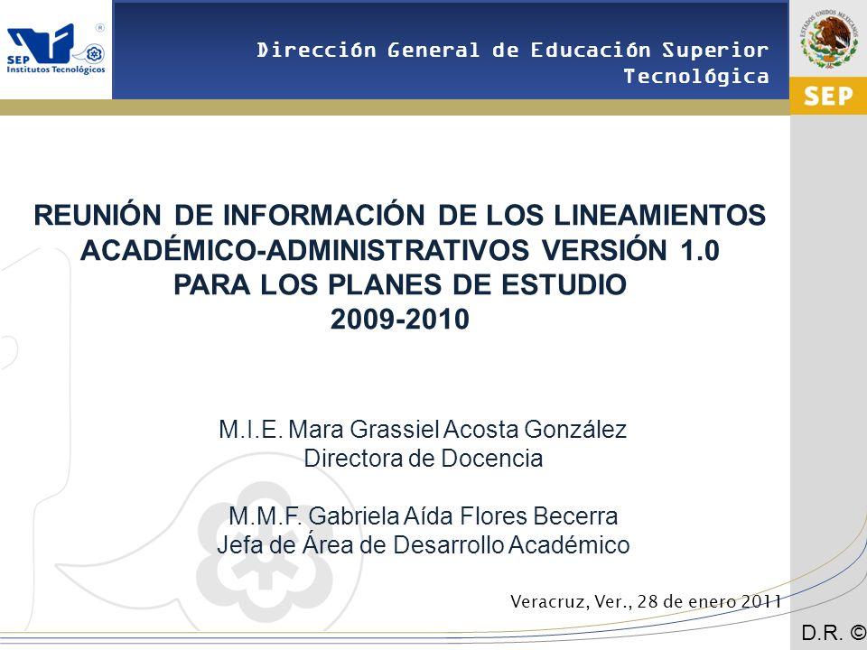 REUNIÓN DE INFORMACIÓN DE LOS LINEAMIENTOS ACADÉMICO-ADMINISTRATIVOS VERSIÓN 1.0 PARA LOS PLANES DE ESTUDIO 2009-2010