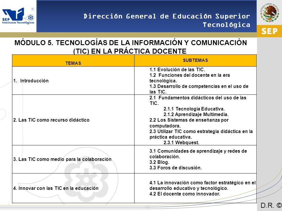 MÓDULO 5. TECNOLOGÍAS DE LA INFORMACIÓN Y COMUNICACIÓN (TIC) EN LA PRÁCTICA DOCENTE