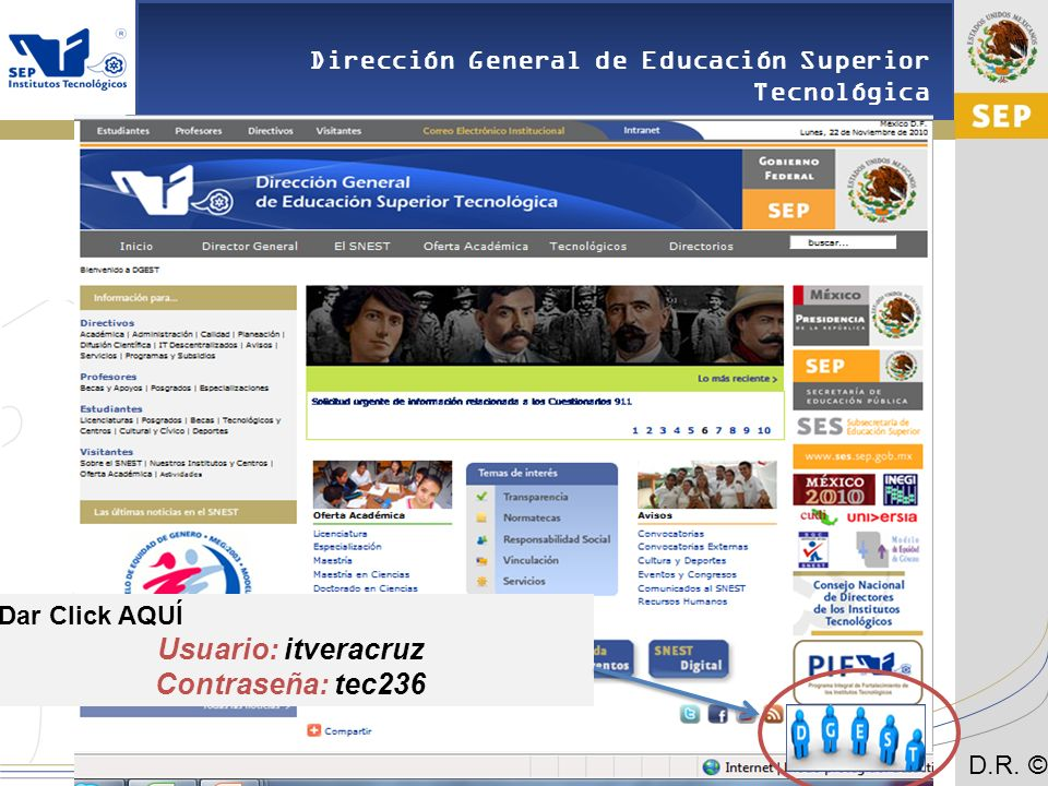 Usuario: itveracruz Contraseña: tec236