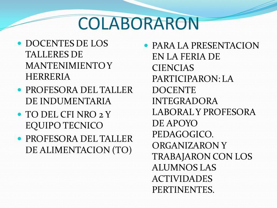 COLABORARON DOCENTES DE LOS TALLERES DE MANTENIMIENTO Y HERRERIA