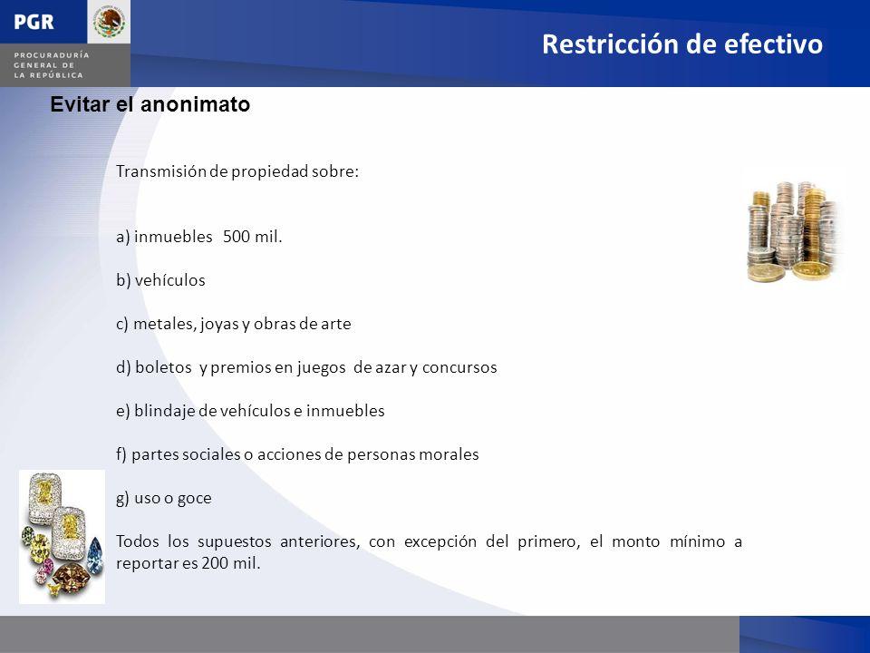 Restricción de efectivo