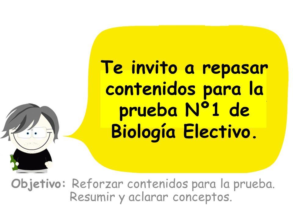 Te invito a repasar contenidos para la prueba Nº1 de Biología Electivo.
