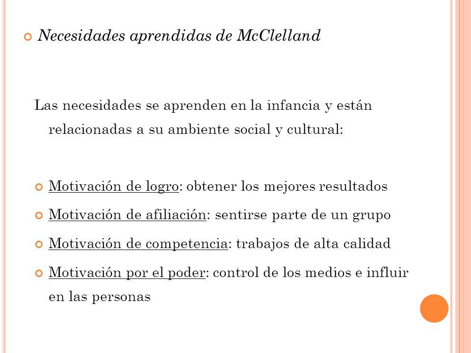Necesidades aprendidas de McClelland