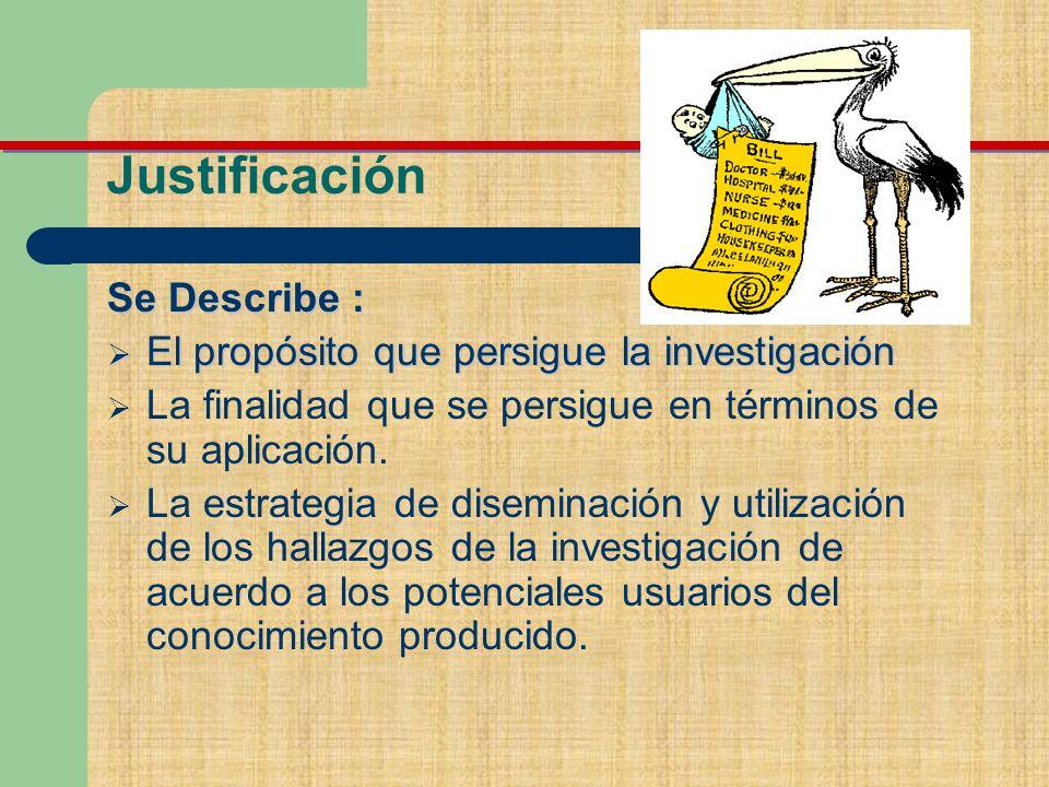 Justificación Se Describe : El propósito que persigue la investigación