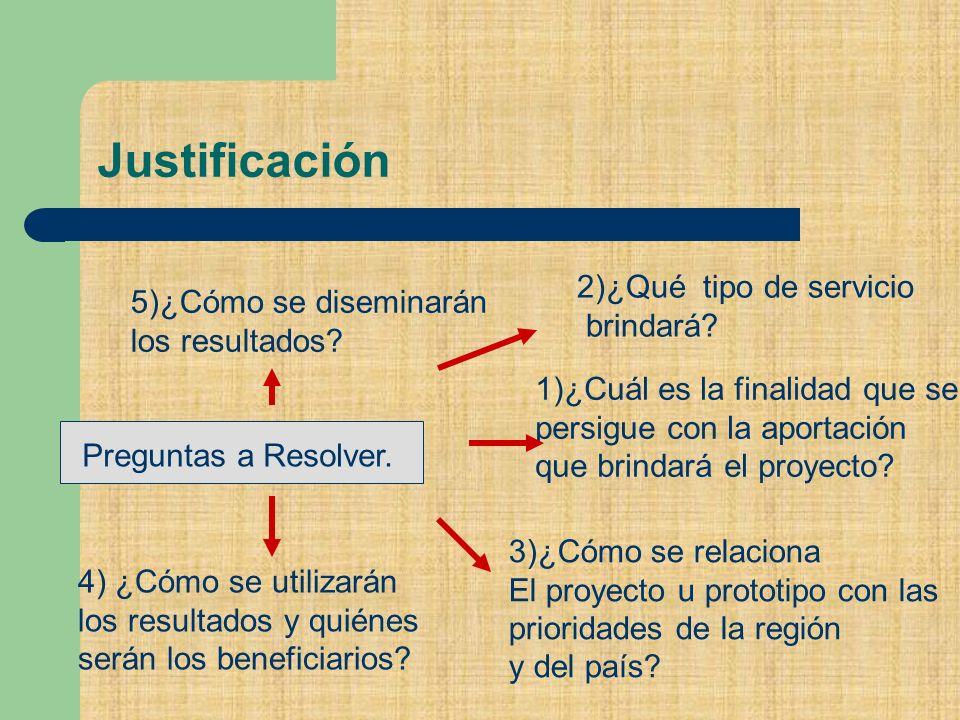 Justificación Preguntas a Resolver. 2)¿Qué tipo de servicio