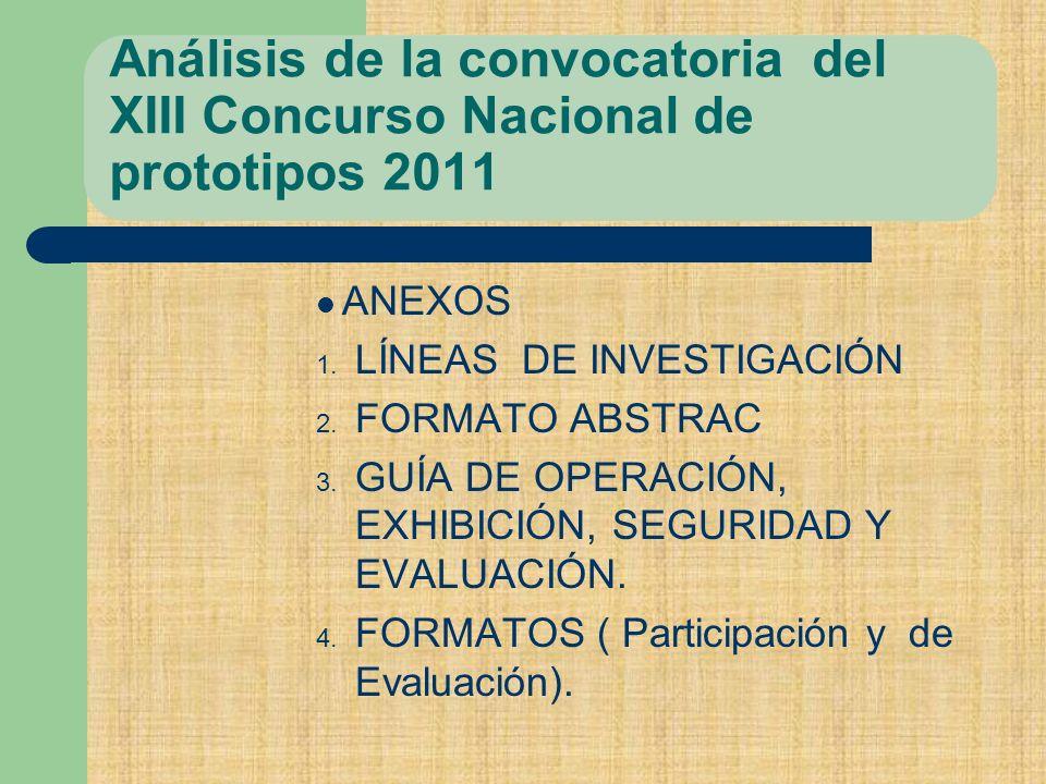 Análisis de la convocatoria del XIII Concurso Nacional de prototipos 2011
