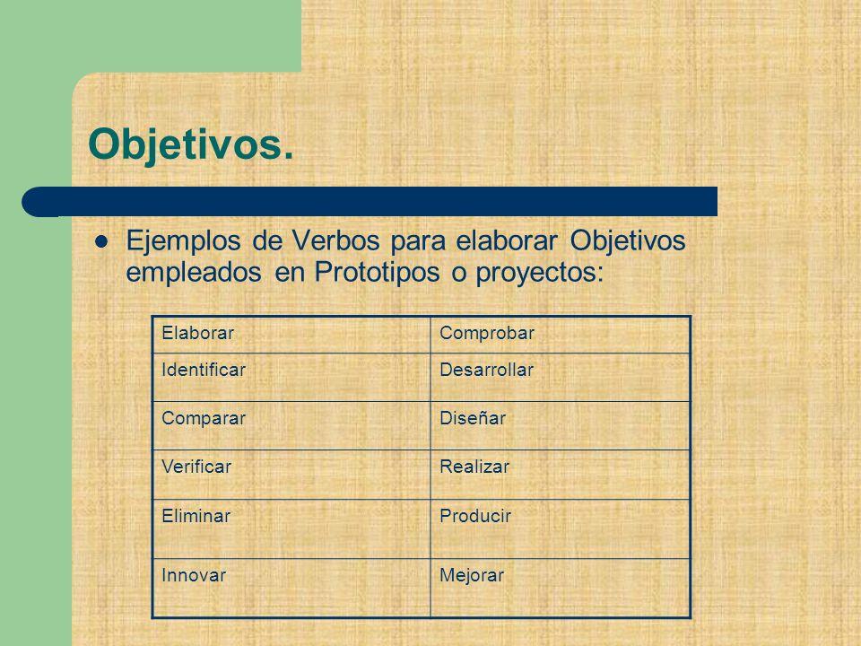 Objetivos. Ejemplos de Verbos para elaborar Objetivos empleados en Prototipos o proyectos: Elaborar.