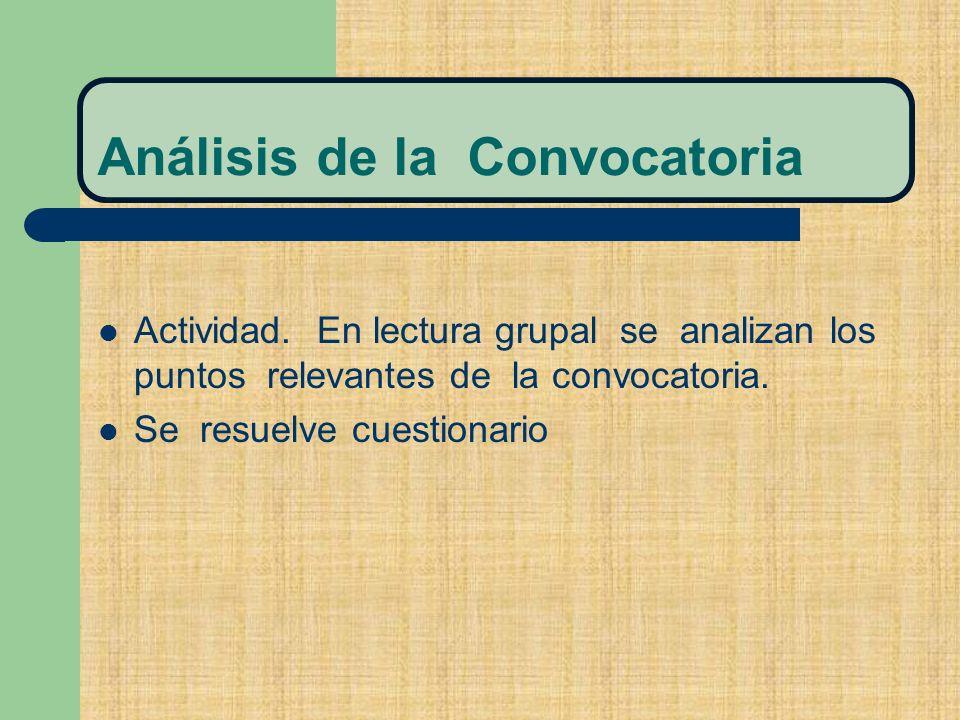 Análisis de la Convocatoria