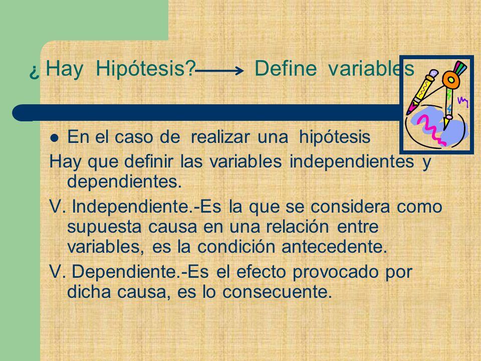 ¿ Hay Hipótesis Define variables