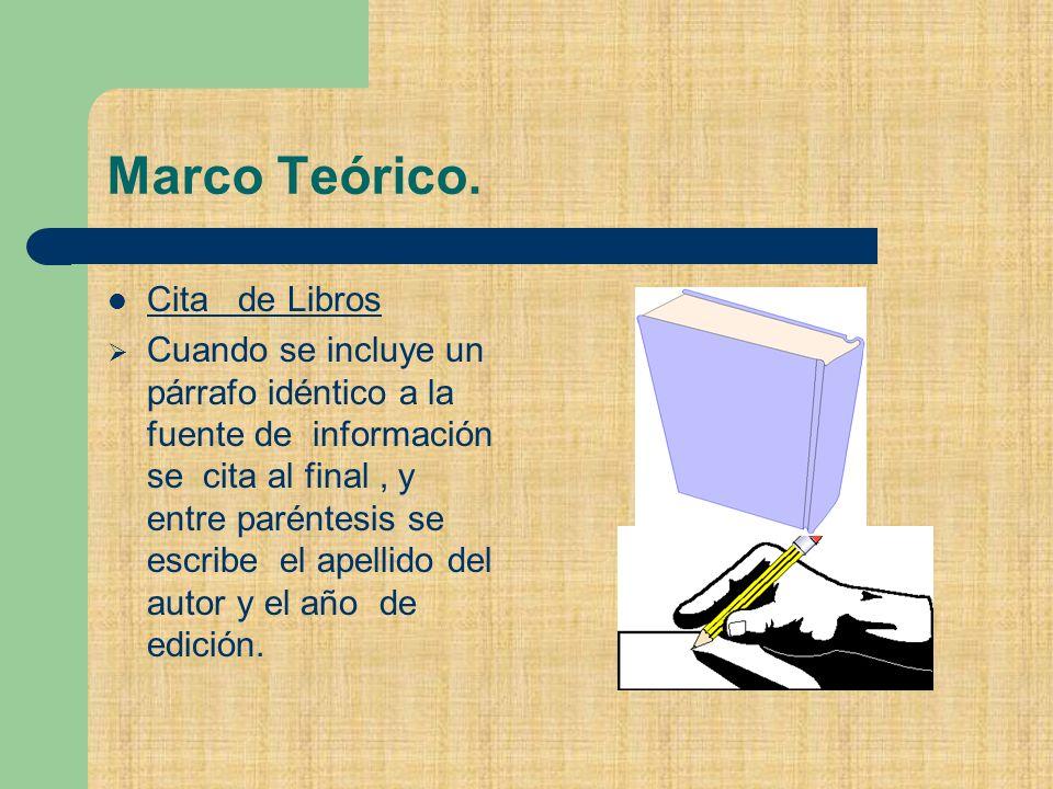 Marco Teórico. Cita de Libros