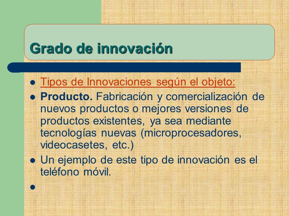Grado de innovación Tipos de Innovaciones según el objeto: