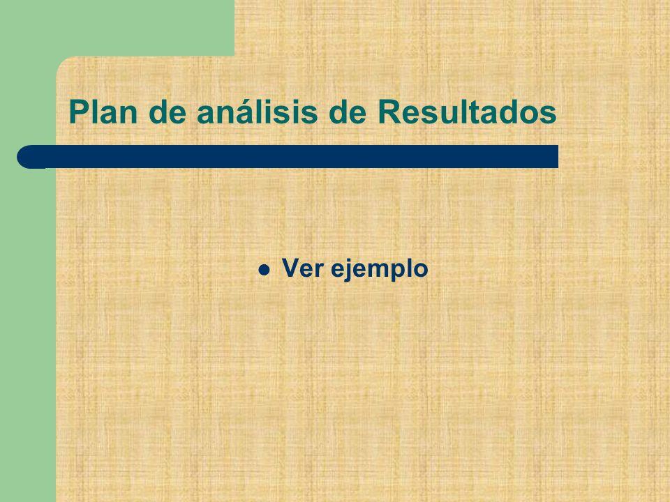 Plan de análisis de Resultados