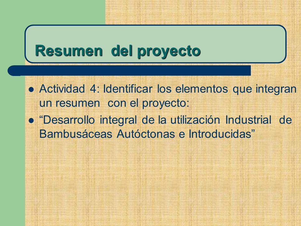 Resumen del proyecto Actividad 4: Identificar los elementos que integran un resumen con el proyecto: