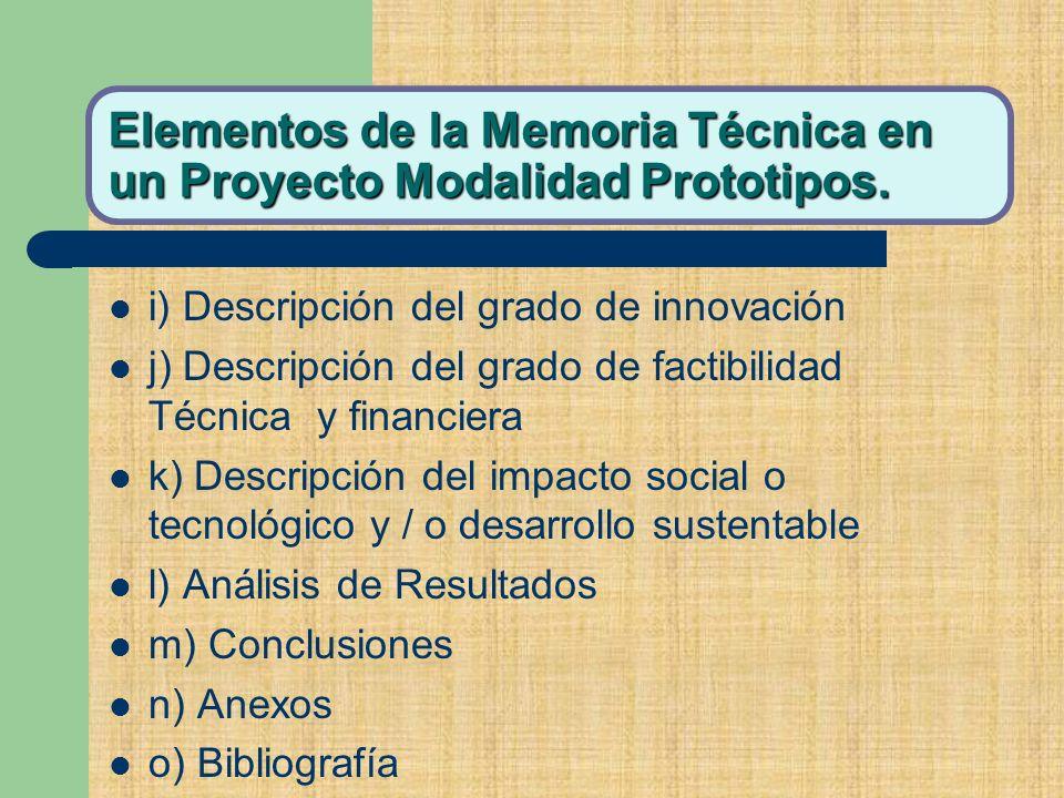 Elementos de la Memoria Técnica en un Proyecto Modalidad Prototipos.