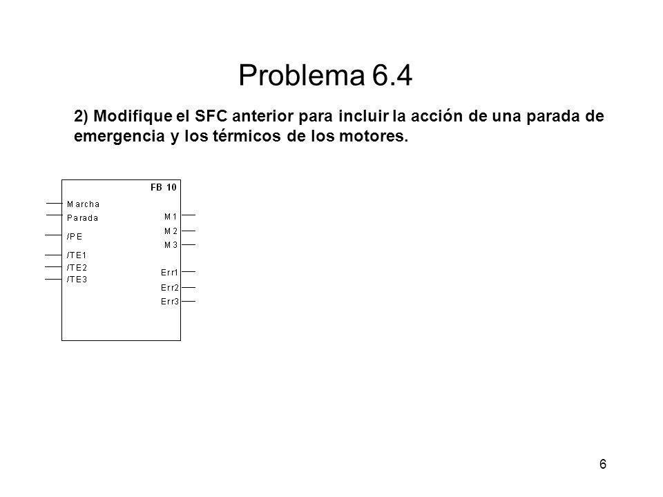 Problema 6.4 2) Modifique el SFC anterior para incluir la acción de una parada de emergencia y los térmicos de los motores.