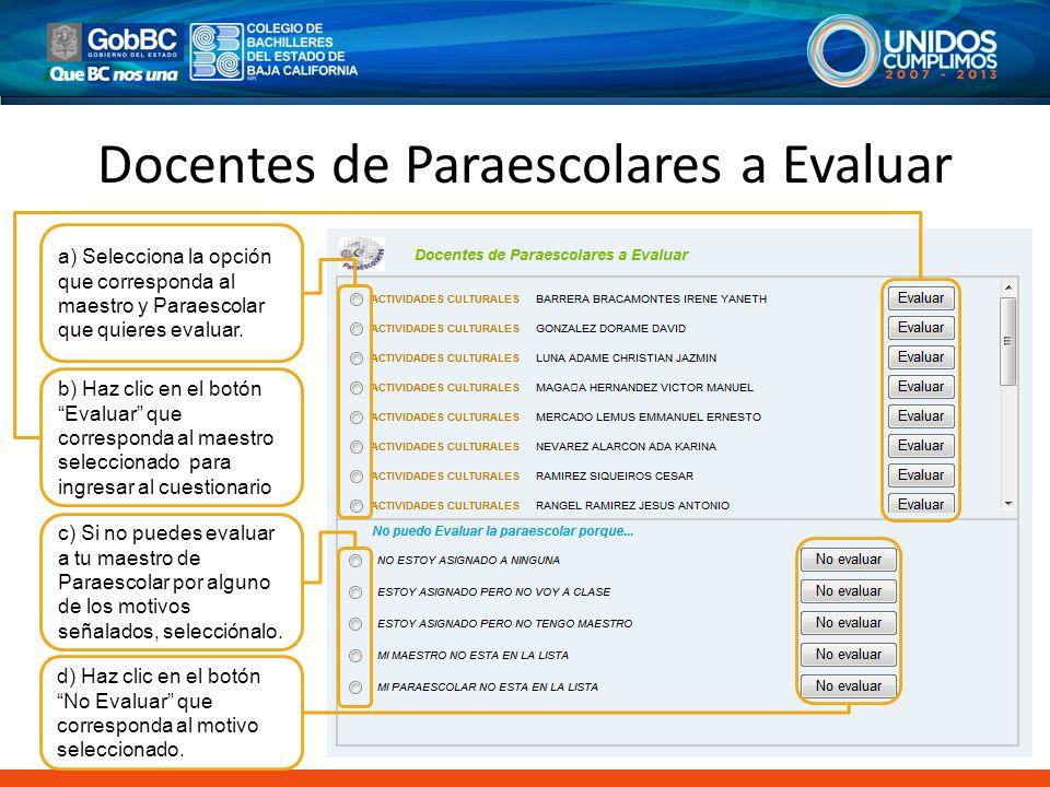 Docentes de Paraescolares a Evaluar
