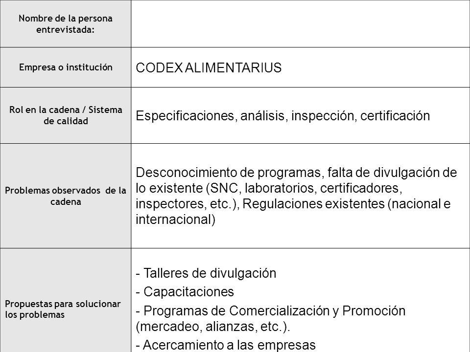 Especificaciones, análisis, inspección, certificación