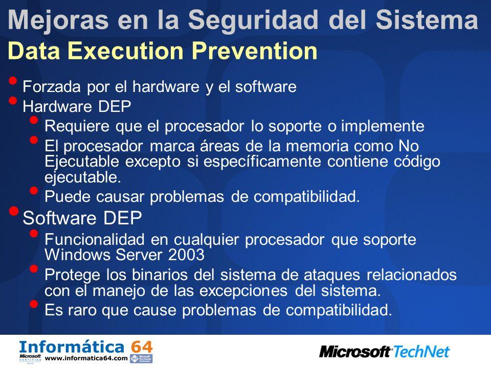 Mejoras en la Seguridad del Sistema Data Execution Prevention