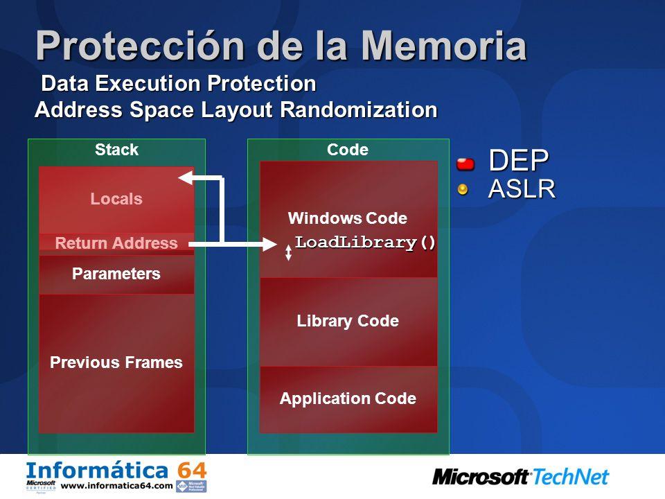 Protección de la Memoria Data Execution Protection Address Space Layout Randomization