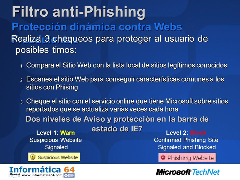 Filtro anti-Phishing Protección dinámica contra Webs Fraudulentas